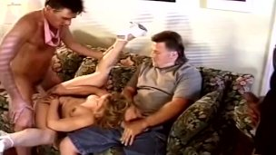 ScrewMyWife blonde wife from cuckold to threesome