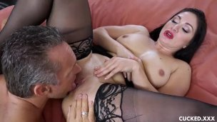CuckedXXX big tits MILF Lea Lexis in black lingerie next to husband