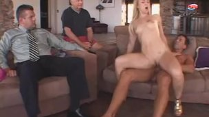 ScrewMyWife beautiful blonde wife fuck in front of men watching