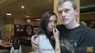 Shy brunette girl blowjob and fuck doggy style stranger in bowling place