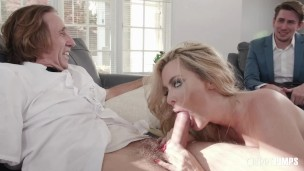 Blonde Busty Milf Sucks Her Milkman's Cock And Cucks Her Wimpy Husband By Fucking In Front Of Him